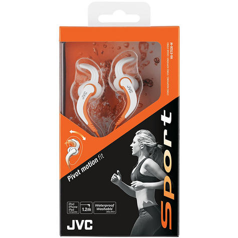 JVC HAETX30W Sports Pivot Motion Fit Earphones/1.2 MM/Waterproof/Washable/White Thumbnail 2