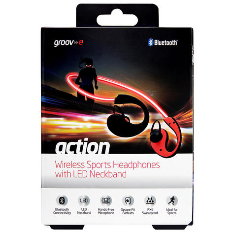 Groov-e GVBT800RD  Action Wireless Bluetooth Sports Headphone/LED Neckband/Red Thumbnail 4