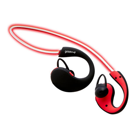Groov-e GVBT800RD  Action Wireless Bluetooth Sports Headphone/LED Neckband/Red Thumbnail 5