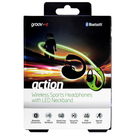 Groov-e GVBT800GN  Action Wireless Bluetooth Sports Headphone/LED Neckband/Green Thumbnail 4