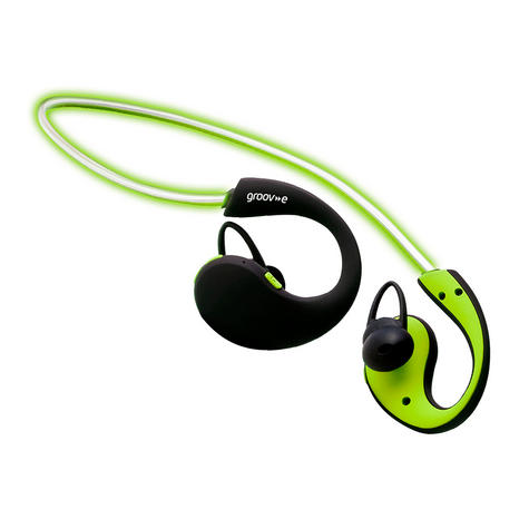 Groov-e GVBT800GN  Action Wireless Bluetooth Sports Headphone/LED Neckband/Green Thumbnail 5