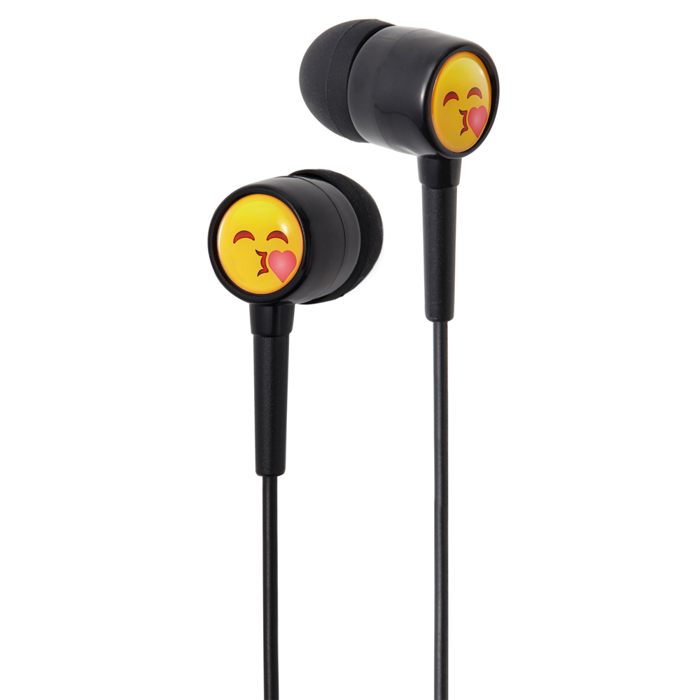Groov-e GVEMJ24 EarMOJI's Stereo Earphones With New Kissing Face/ Spare Earbuds