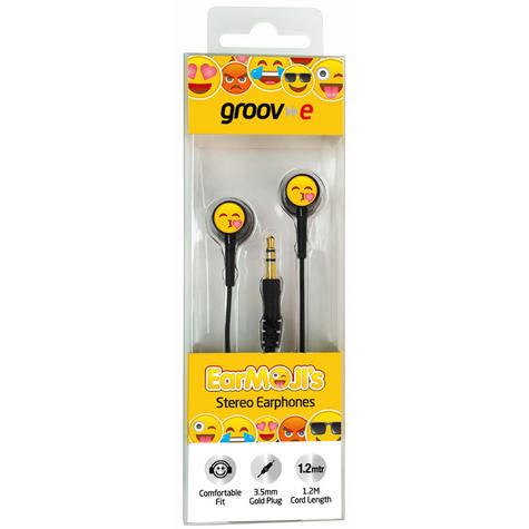 Groov-e GVEMJ24 EarMOJI's Stereo Earphones With New Kissing Face/ Spare Earbuds Thumbnail 2