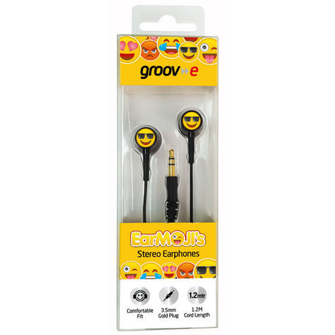 Groov-e GVEMJ25 EarMOJI's Stereo Earphones With New Cool Face/ Spare Earbuds Thumbnail 2