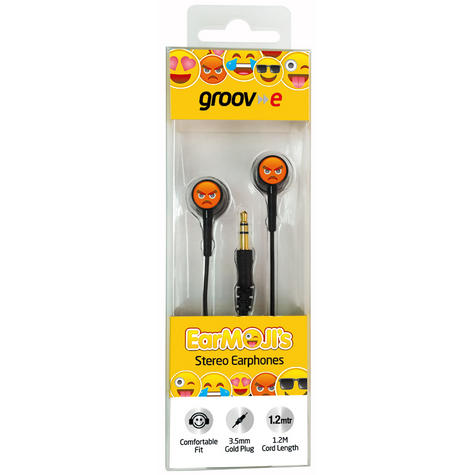 Groov-e GVEMJ26 EarMOJI's Stereo Earphones With New Angry Face / Spare Earbuds Thumbnail 2