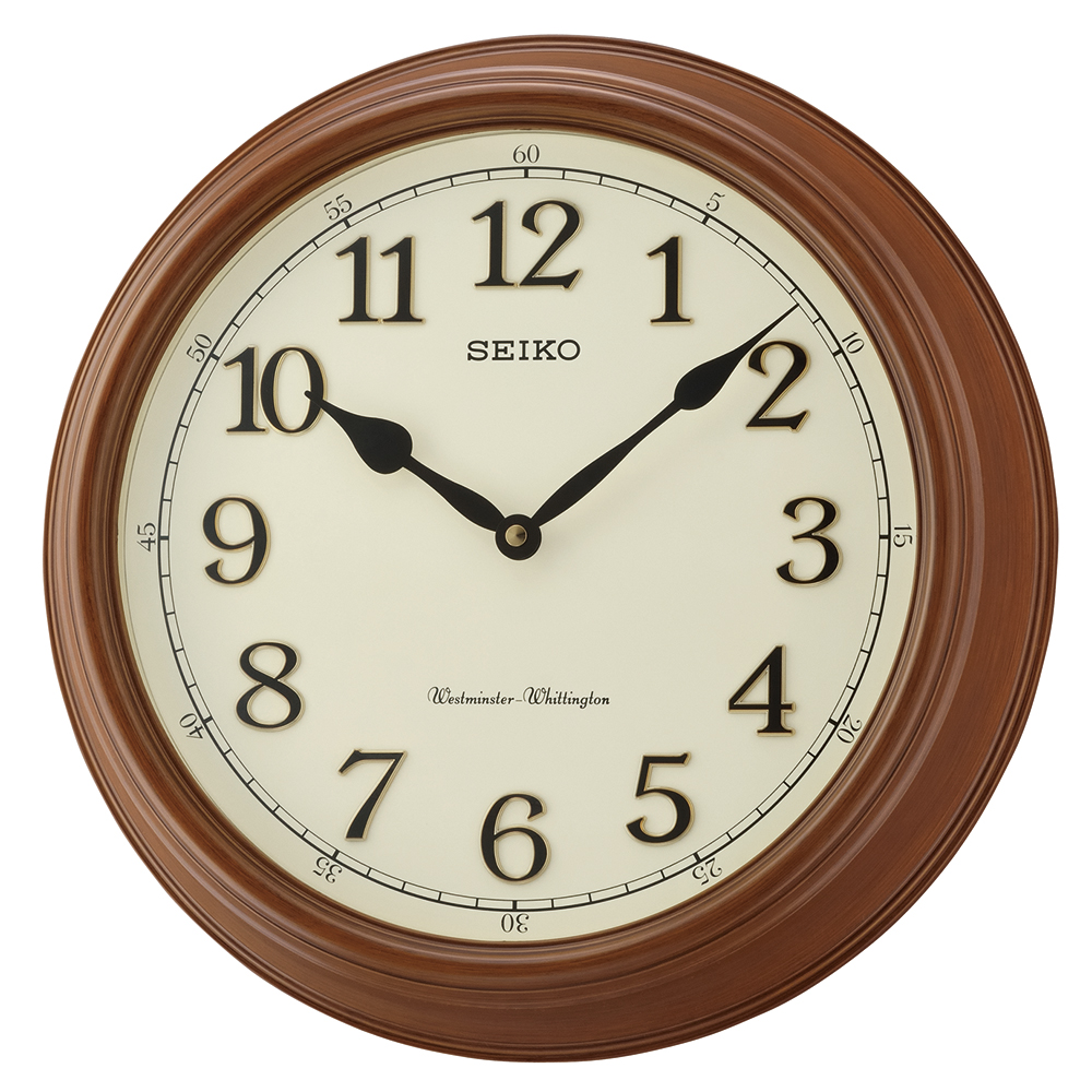 Seiko qxd214b westminster whittington dual chime wall for Dual time wall clock