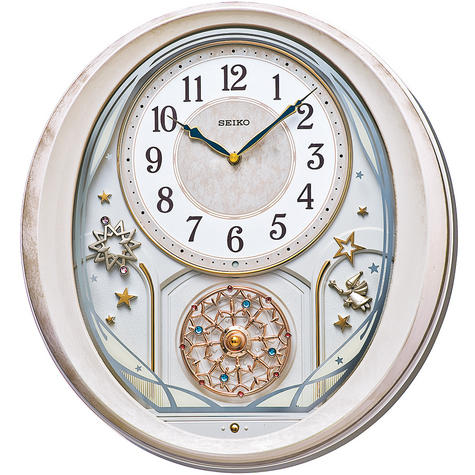 Seiko QXM370P Melody in Motion Wall Clock with Pink Marble Case Thumbnail 1