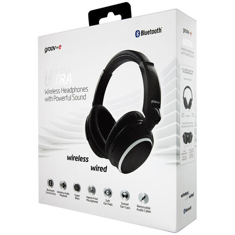Groov-e GVBT700BK Ultra Wireless Bluetooth Stereo Headphone/Powerful Sound/Black Thumbnail 8