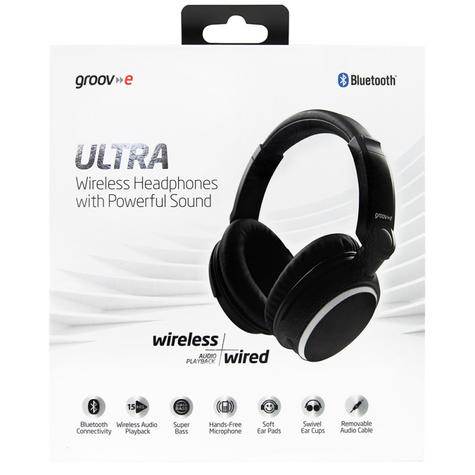 Groov-e GVBT700BK Ultra Wireless Bluetooth Stereo Headphone/Powerful Sound/Black Thumbnail 7