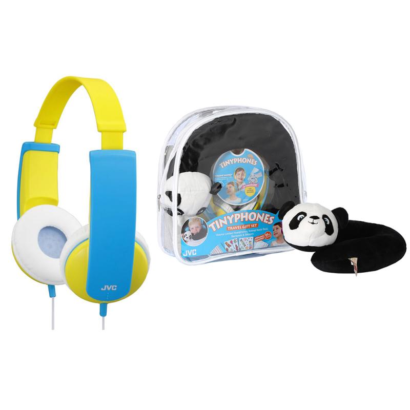 JVC HAKD5TRAV-Y Tinyphones Travel Gift Set-Headphones/Neck Pillow/Backpack/New