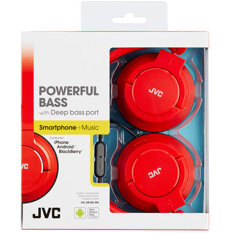 JVC HASR185RN Powerful Deep Bass Headphones/Foldable/Remote Mic/Over The Ear/Red Thumbnail 2