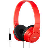 JVC HASR185RN Powerful Deep Bass Headphones/Foldable/Remote Mic/Over The Ear/Red