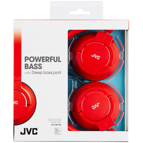 JVC HAS180RN Powerful & Deep Bass On Ear Headphones/Foldable/Lightweight/Red Thumbnail 2