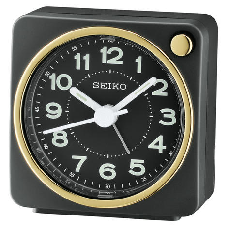 Seiko QHE144J Analogue Bedside Beep Alarm Clock - Snooze,Light Function - Black Thumbnail 2