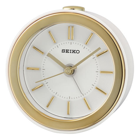 Seiko QHE156W Beep Alarm Bedside Clock/LED Flashing Alarm/3D index/Snooze/White Thumbnail 2
