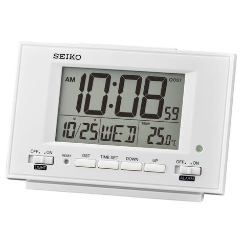 Seiko QHL075W LCD Dual Alarm Clock With Calendar-Thermometer-Snooze-Light-White Thumbnail 2