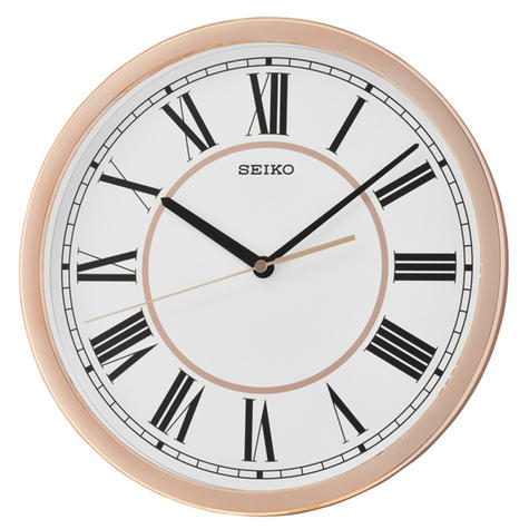 Seiko QXA665P Roman Numeral Round Wall Clock|Sweep Second Hand|Rose Gold Case Thumbnail 2