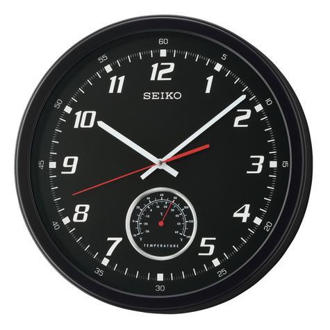 Seiko QXA696K Arabic Numerals Wall Clock with Thermometer - Matt Black Plastic Thumbnail 2
