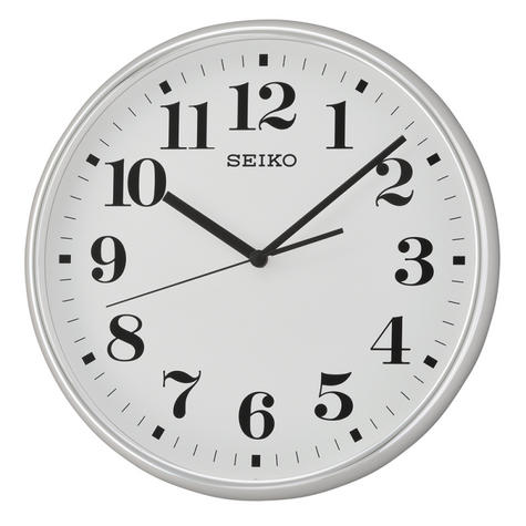 Seiko QXA697S Quiet Sweep Second Hand Wall Clock-Light SilverCase With WhiteFace Thumbnail 2