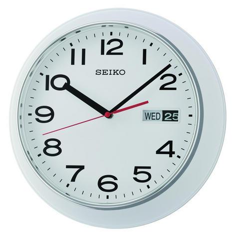 Seiko QXF102H Day & Date Calendar Display With Arabic Numerals Wall Clock-White Thumbnail 2