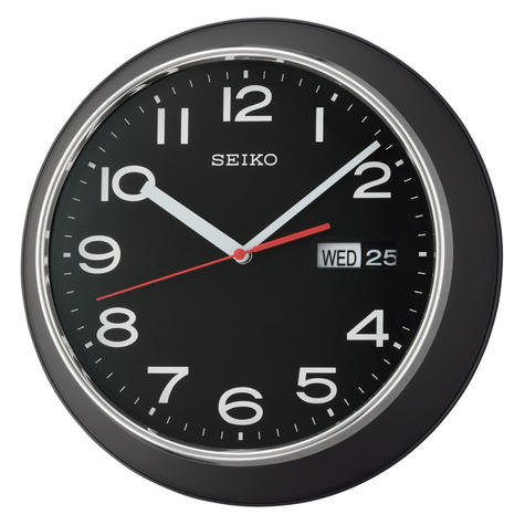 Seiko QXF102Z Day & Date Calendar Display With Arabic Numerals Wall Clock-Black Thumbnail 2