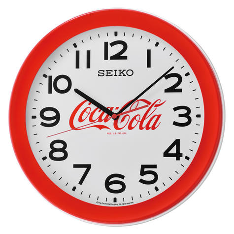 Seiko QXA922R Coca-Cola Wall Clock?Large Arabic Numerals?Round Shape?Plastic?Red Thumbnail 2