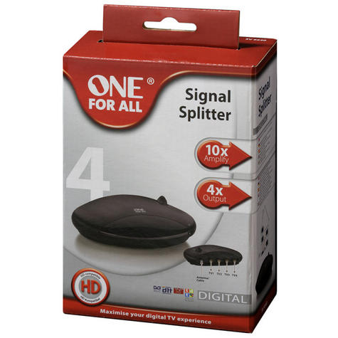 One For All  SV9542 4 Way Output Amplified Signal Splitter With 20 dB,Wall-Mount Thumbnail 2