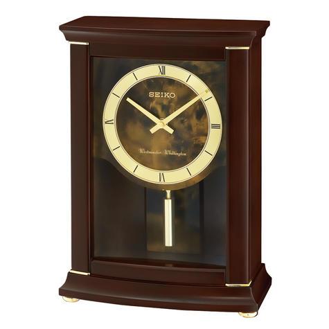 Seiko QXQ033B Westminster/Whittington Dual Chime Mantel Alarm Clock-Pendulam Thumbnail 2