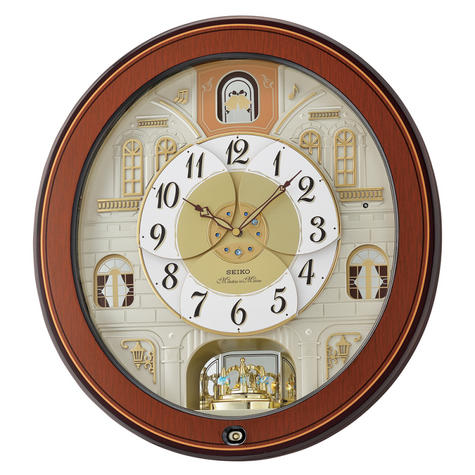 Seiko QXM368B Melody In Motion Analouge Wall Clock With Piano Finish Wooden Case Thumbnail 2