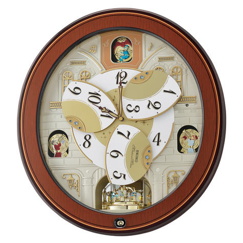 Seiko QXM368B Melody In Motion Analouge Wall Clock With Piano Finish Wooden Case Thumbnail 3