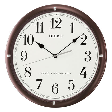 Seiko QXR303B Radio Controlled Wooden Wall Arabic Clock|White Face|Dark Brown| Thumbnail 2