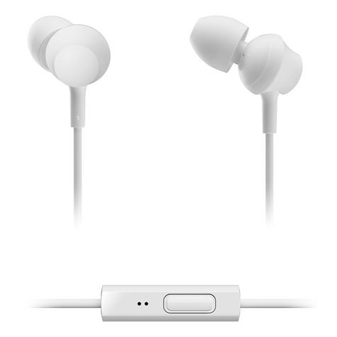 Panasonic RPTCM360EW  In-Ear 9.0mm Unit Headphones With Remote & Mic - White Thumbnail 2