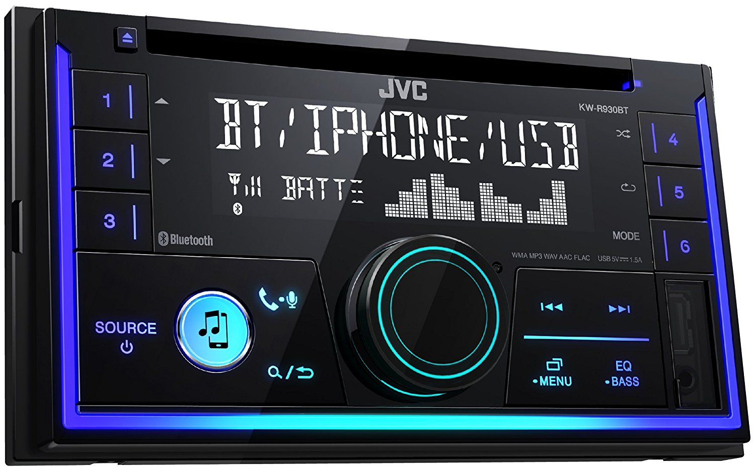JVC In Car CD Receiver|2DIN|MP3|USB|Aux|Bluetooth|iPod-iPhone-Android-Blackberry