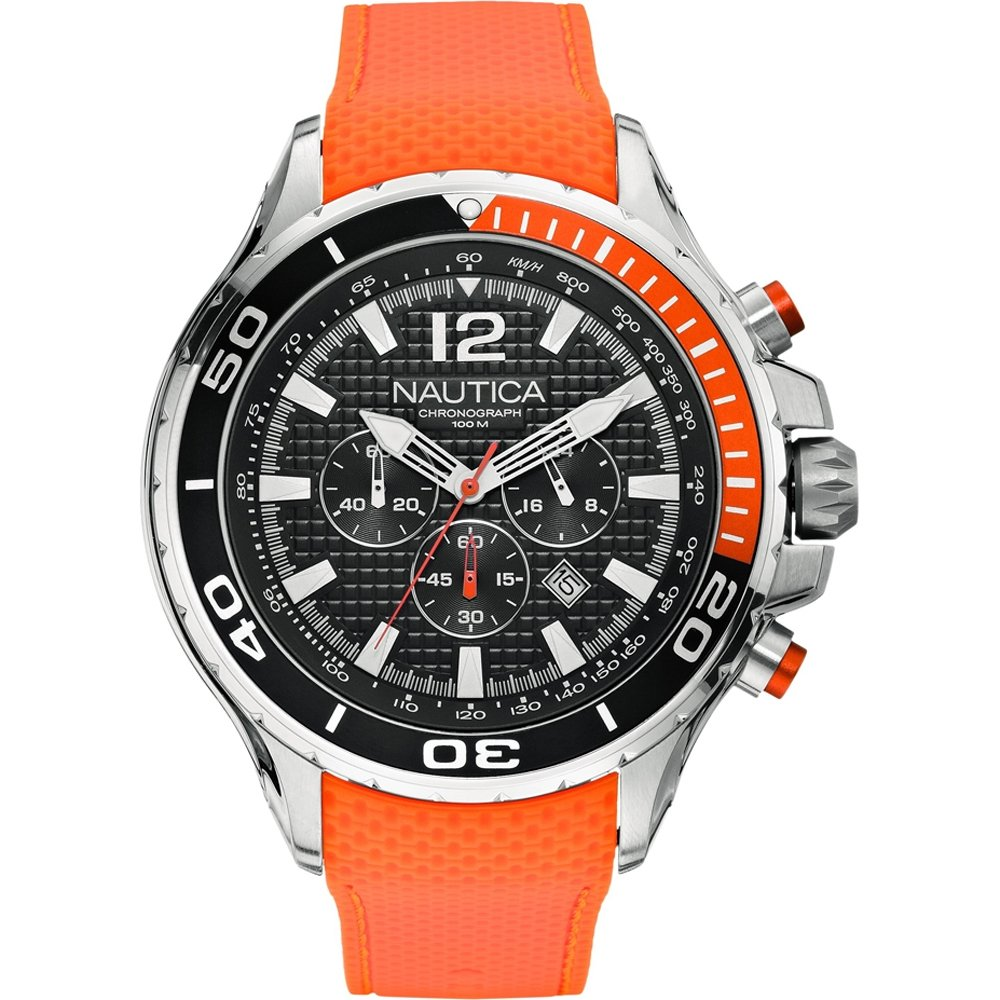 Nautica gents nst diver style 100m orange rubber strap chronograph watch a21017g 656086052114 ebay - Orange dive watch ...