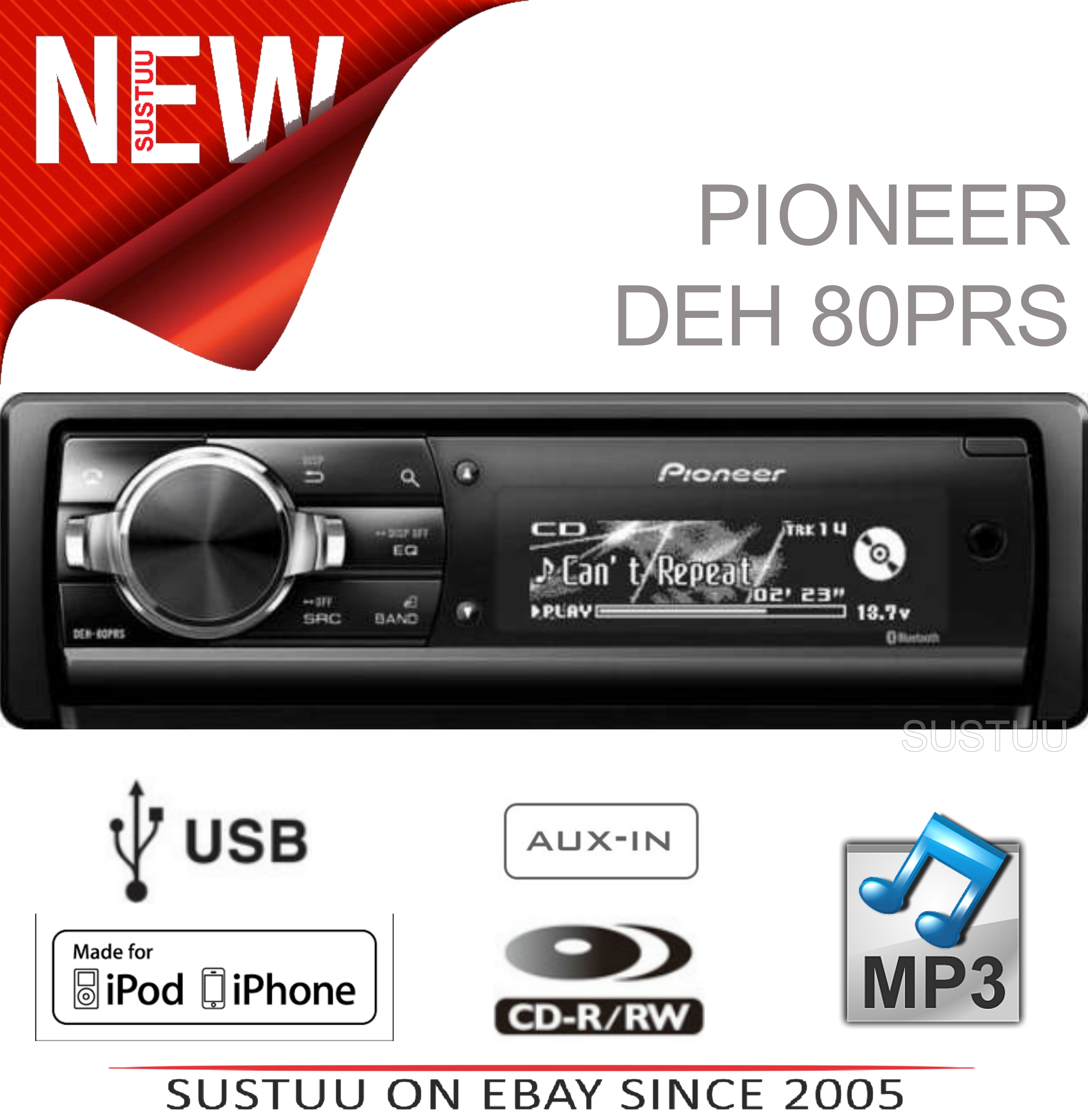 Pioneer DEH-80PRS Car Stereo|CD/MP3/Aux/Bluetooth/USB|iPod/iPhone Control|4x50W