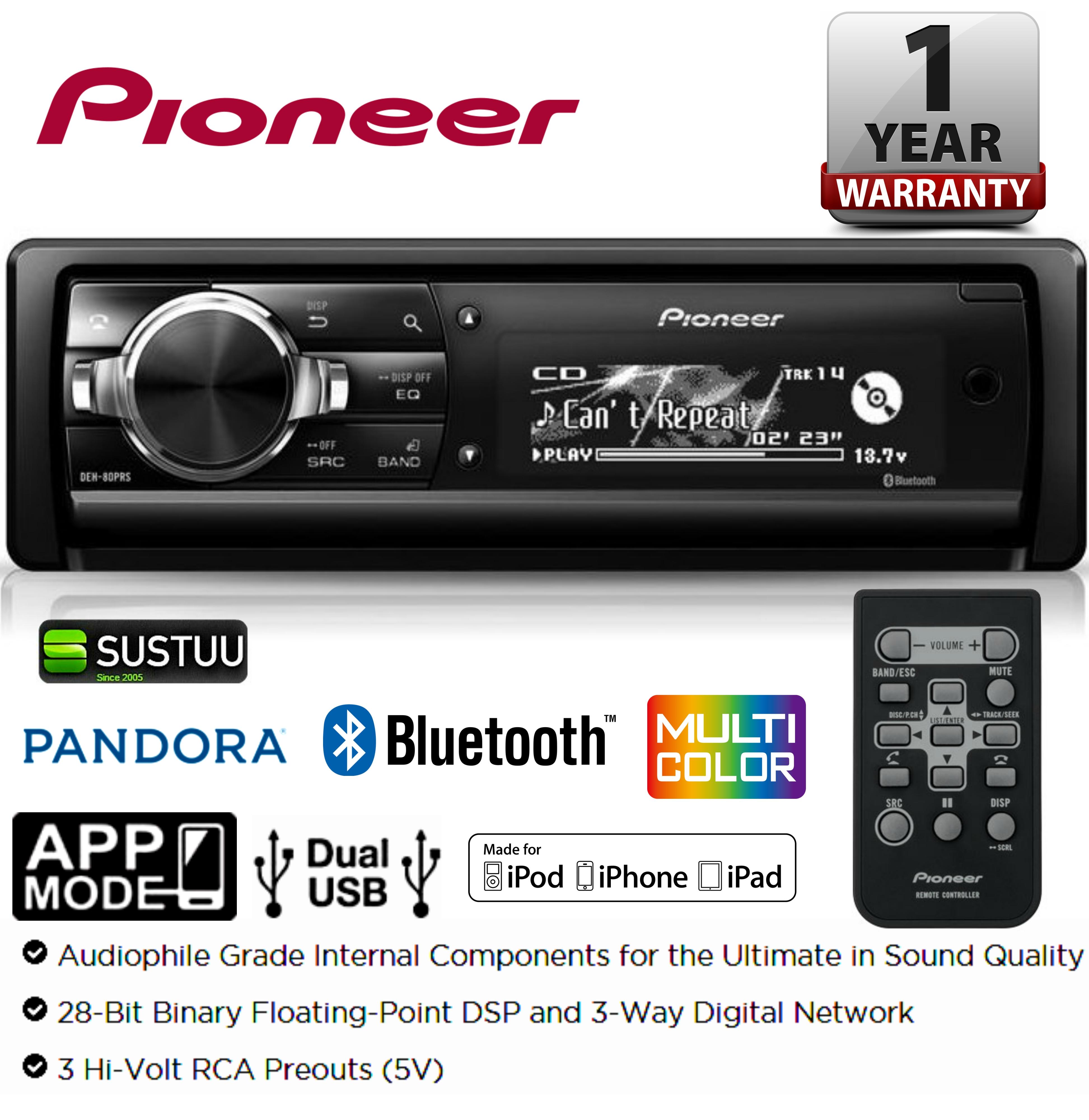 pioneer deh 80prs cd mp3 car stereo dual usb aux bluetooth. Black Bedroom Furniture Sets. Home Design Ideas