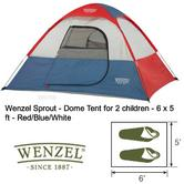Wenzel Sprout - Dome Strong Tent for 2 children - 6 x 5 ft - Red/Blue/White NEW