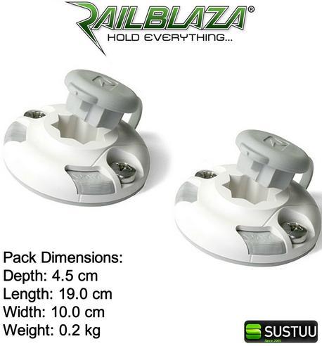Railblaza StarPort Pair White Surface or Recess Mount on ATV Kayak Boat Garage Thumbnail 5
