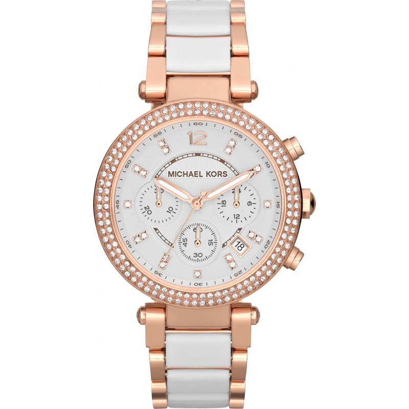 Michael Kors Parker Ladies' Rose Gold Chronograph Bracelet Design Watch MK5774 | Sustuu