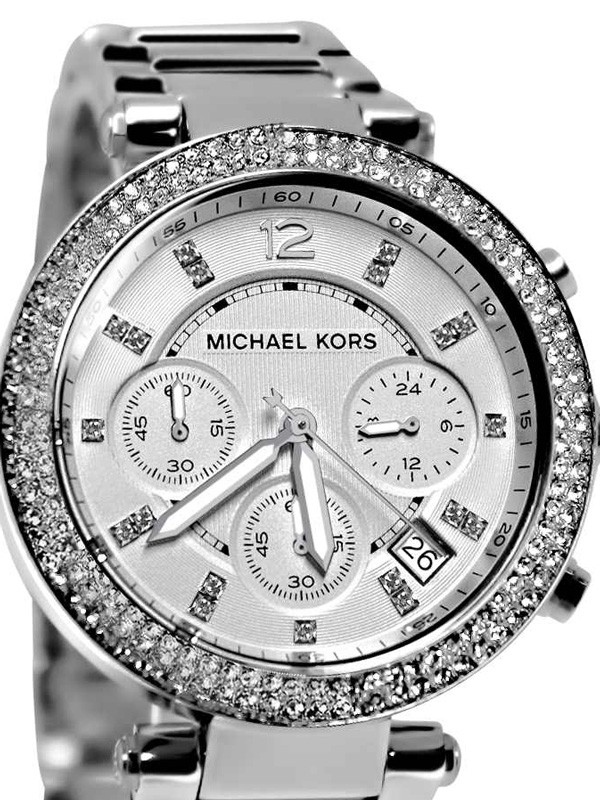 michael kors parker silver stainless steel chronograph ladies watch mk5353