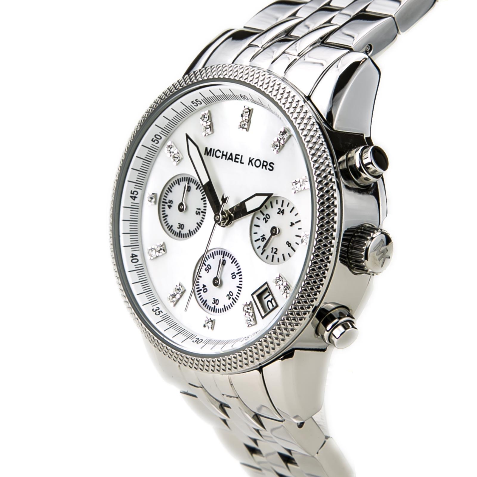 a49e53b9e4ae Michael Kors Ladies Ritz Silver Tone Camille Chronograph Designer Watch  MK5020 Thumbnail 3