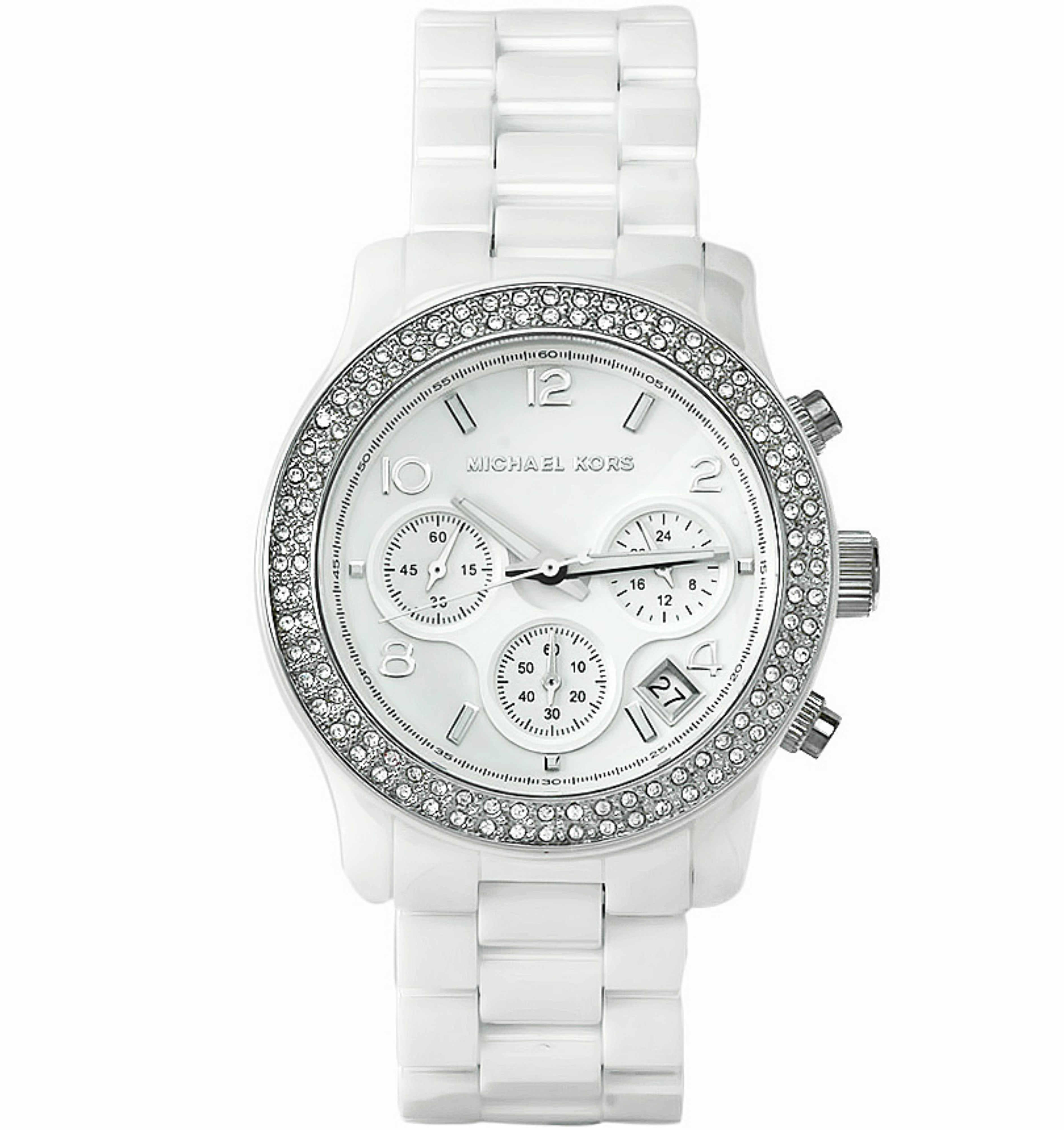 Michael Kors Runway Ladies White Ceramic Bracelet Chronograph Round Watch MK5188
