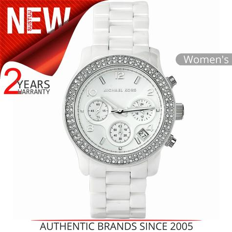 Michael Kors Runway Ladies White Ceramic Bracelet Chronograph Round Watch MK5188 Thumbnail 1