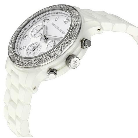 Michael Kors Runway Ladies White Ceramic Bracelet Chronograph Round Watch MK5188 Thumbnail 2