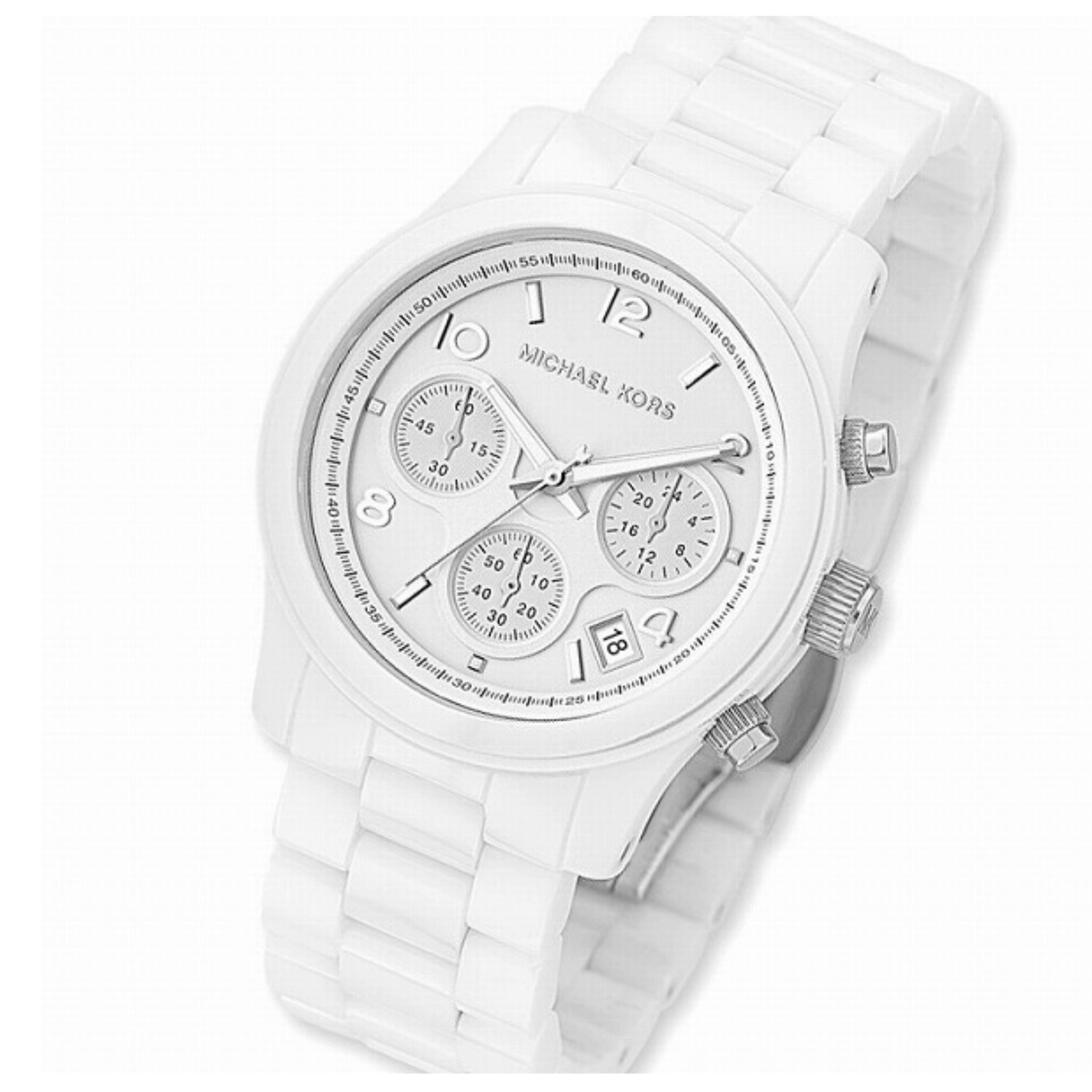 62ff4daf7ab9 Sentinel Michael Kors Runway Ladies  Watch MK5161│Chronograph Dial│White  Ceramic Bracelet