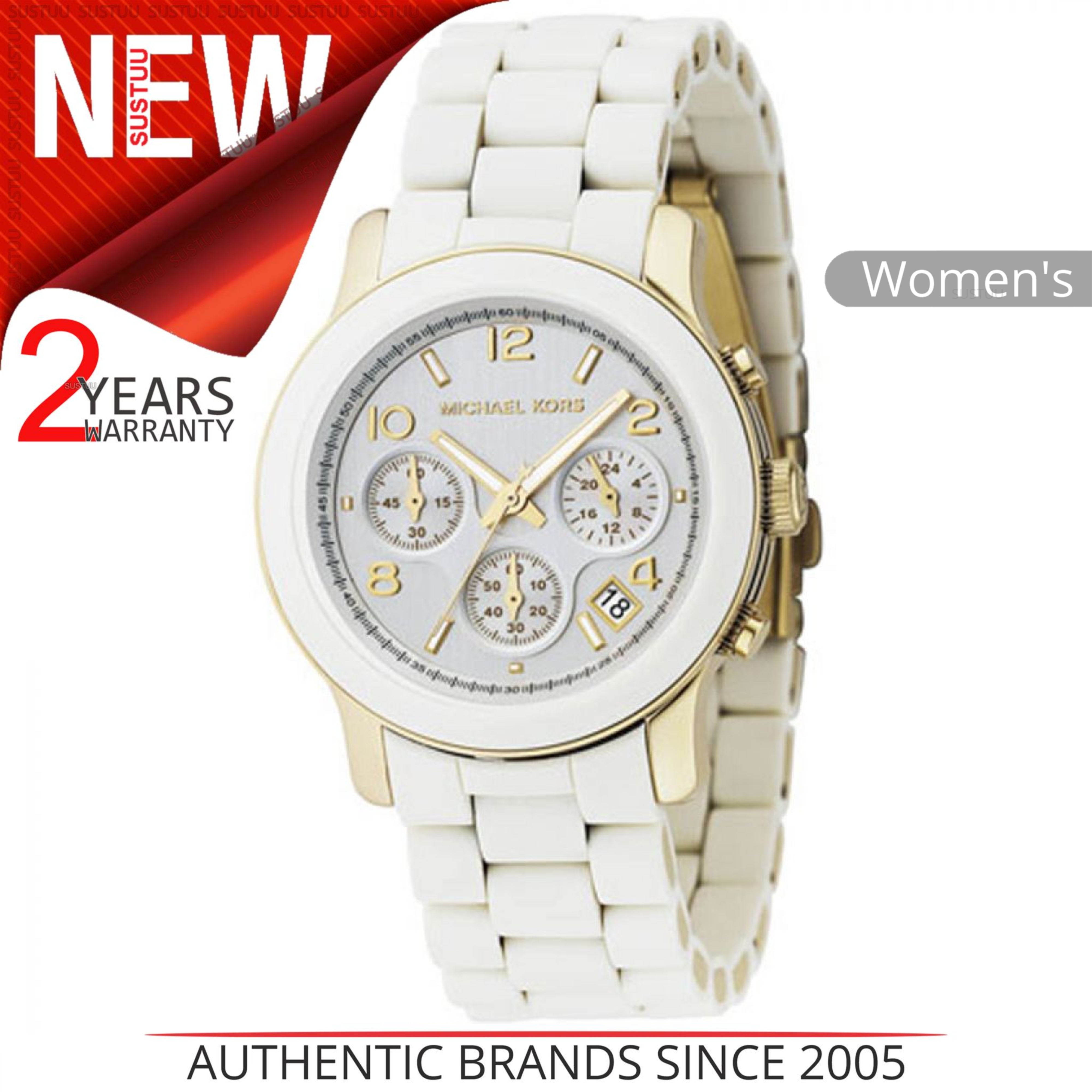 a8ba40bfe549 Details about Michael Kors Runway Ladies Watch MK5145│Silver Round Dial│ White Bracelet Band