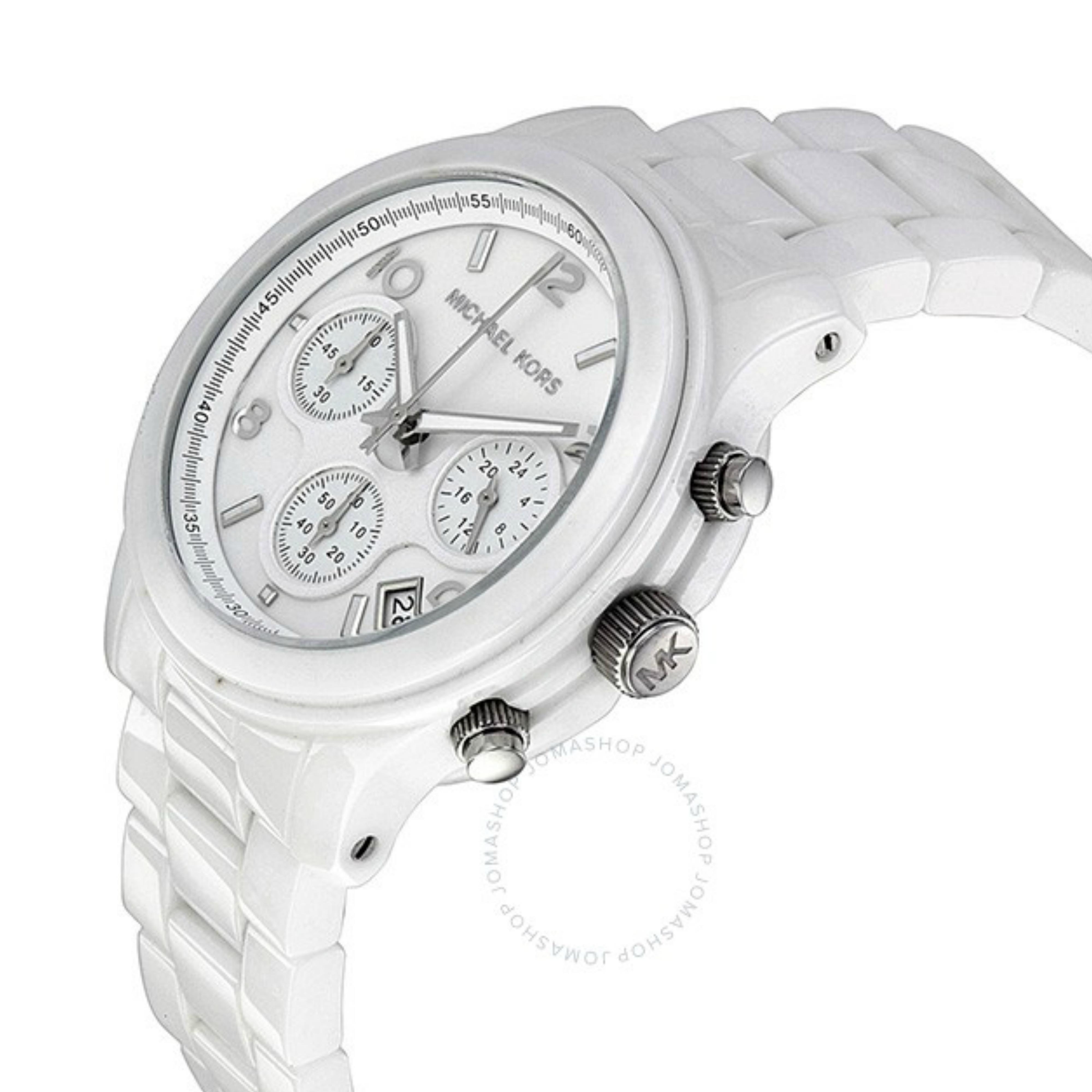 90280ba8e39d Michael Kors Runway Ladies  White Ceramic Bracelet Chrono Designer Watch  MK5161 Thumbnail 2