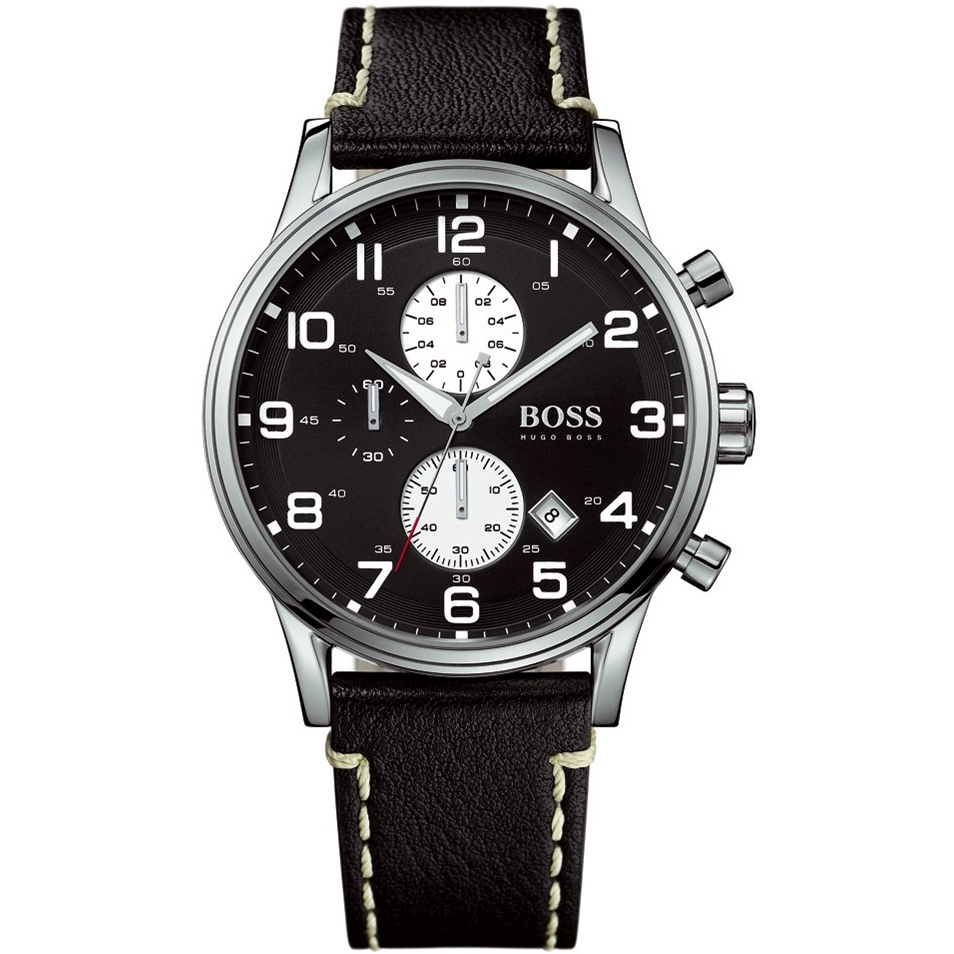 hugo boss men 39 s black leather strap round dial chronograph. Black Bedroom Furniture Sets. Home Design Ideas