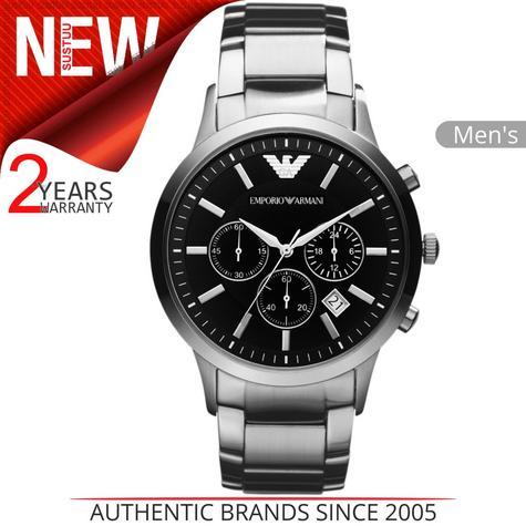 Emporio Armani Men's Watch|Chronograph Black Dial|Silver Bracelet Band|AR2434 Thumbnail 1
