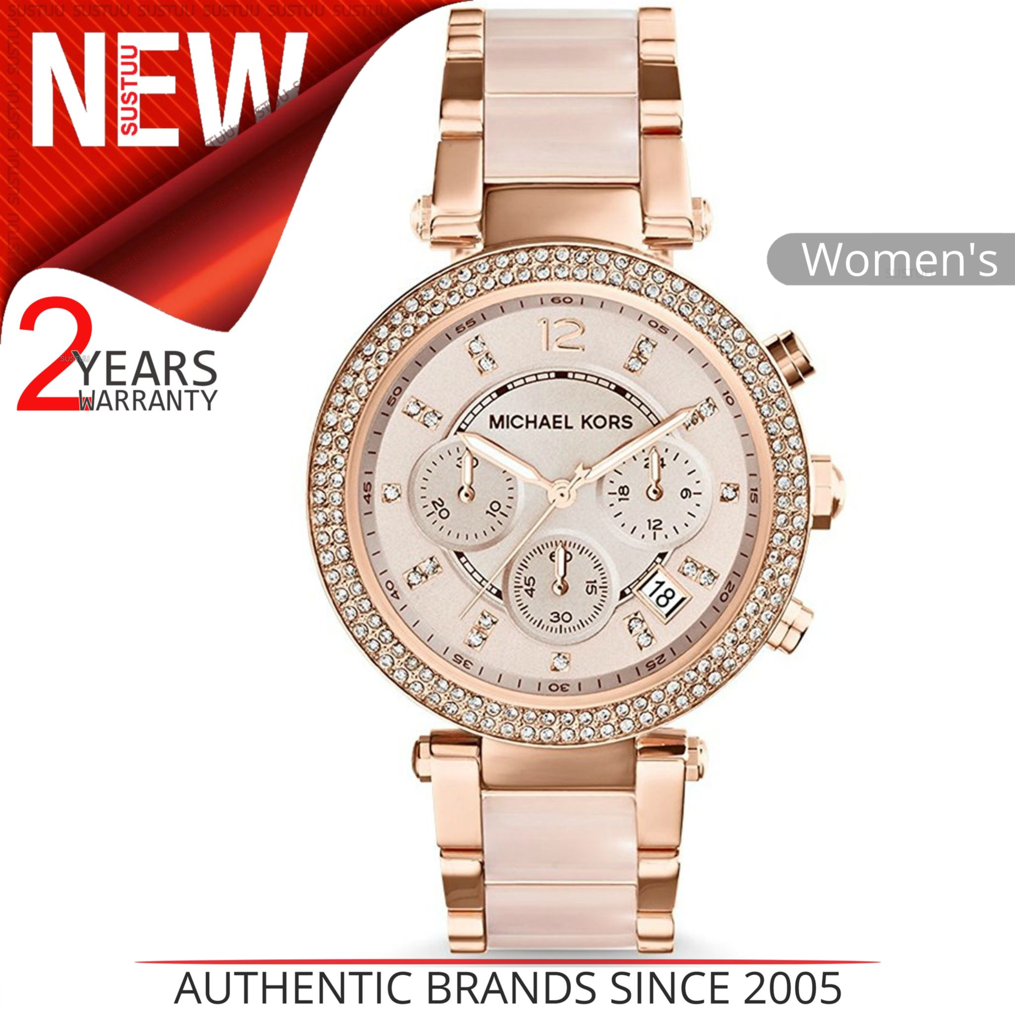 9dd373653dd Details about Michael Kors Parker Ladies Watch MK5896│Daimond Accent Chrono  Dial│Rose Gold
